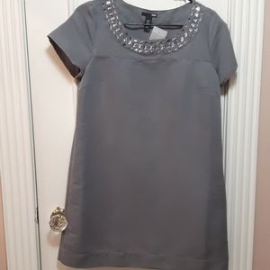 NWOT Gray dress with jewel collar